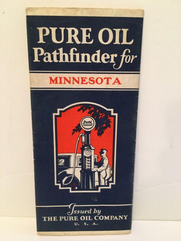Vintage Pure Oil Pathfinder For Minnesoita Map