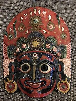 Maske Nepal Tempelmaske Bhairava, Inkarnation von Shiva echt 50x40x10