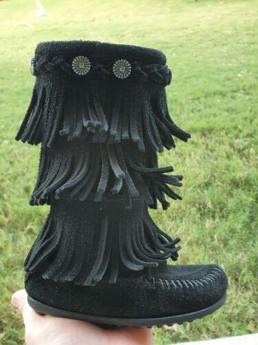 Minnetonka Fringe Leather BLACK Girls