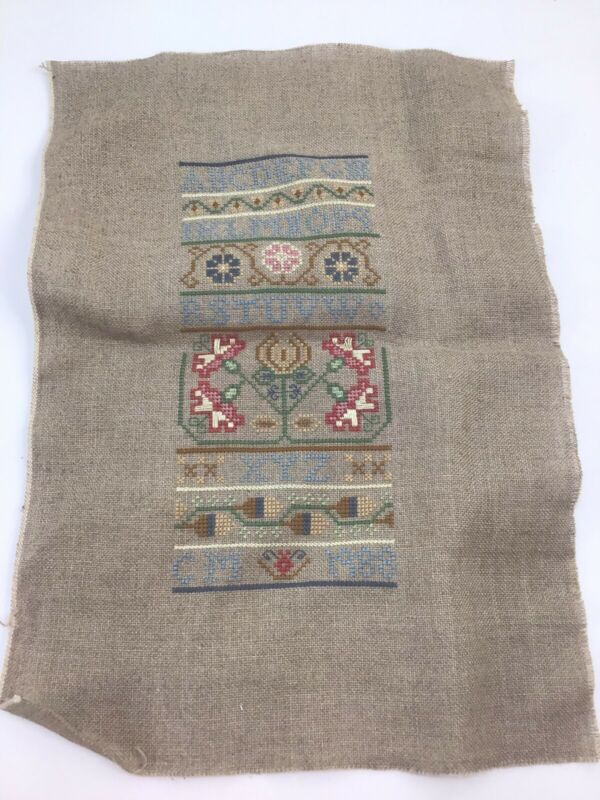 """Completed Signed Alphabet Cross Stitch Sampler 9"""" X 13"""" On Brown Linen 1988"""