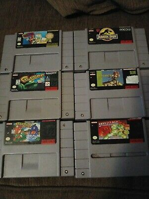 Super Nintendo Game Lot 6 Games Trigger, Yoshis Island, Battle Clash,...