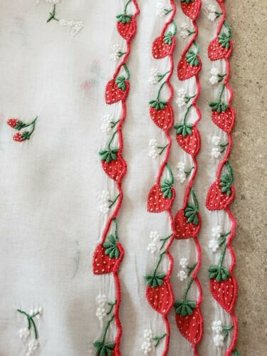Vintage Marghab Embroidered Strawberry Organdy Placemats, Set of 4