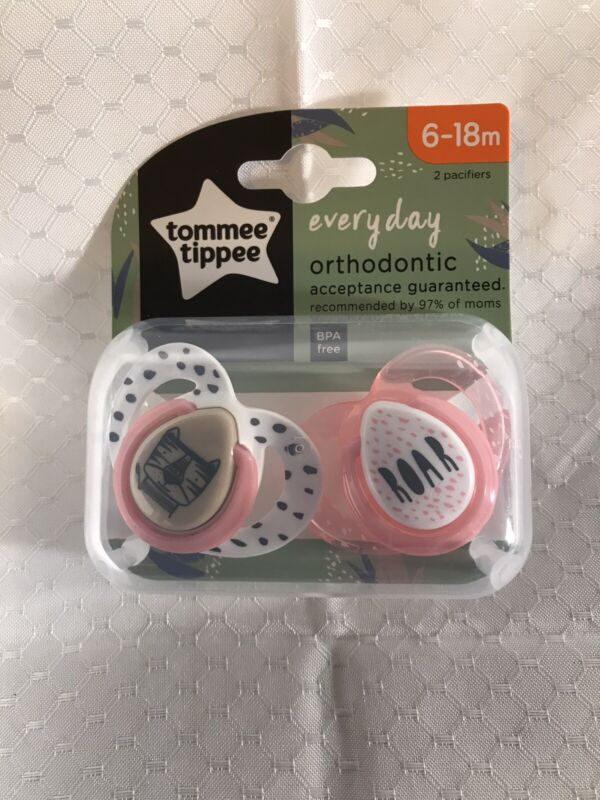 Tommee Tippee Infant Baby Orthodontic Pacifier Binky Tiger Roar Pink 6-18 Months