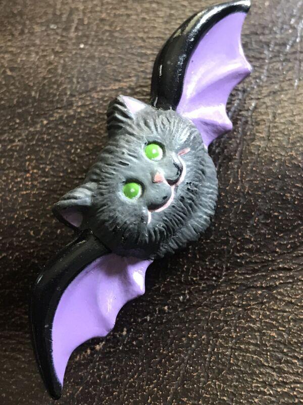 Russ PIN Halloween Vintage BAT Black & Purple Holiday Brooch Jewelry