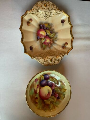 Antique Aynsley Gold&Handpainted Fruit D.Jones Pair Dishes Excellent 1930's