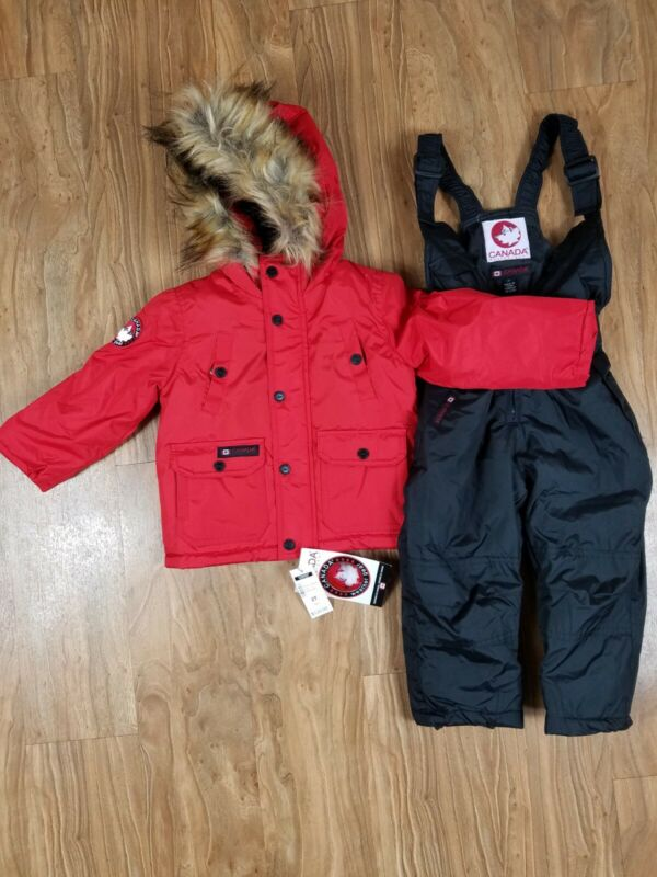 CANADA WEATHER GEAR 4T Snow Pants Cost Suit Boy Girl Unisex Red Black NWT