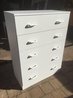 Large White Tallboy with 5 Drawers