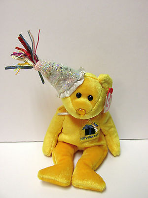 Ty Beanie Baby November w/Party Hat, Birthday BEAR, Pristine Clean-New-Mint Tags - Party Ty