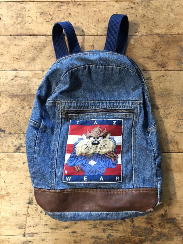 Vintage Looney Tunes Denim Backpack Taz Wear Tazmanian Devil