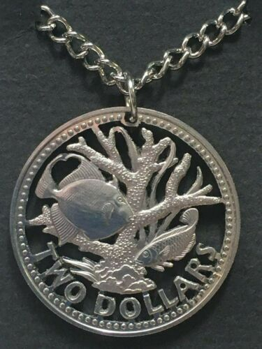 Barbados Cut Coin Pendant Tropical West Indian Fish Staghorn Coral