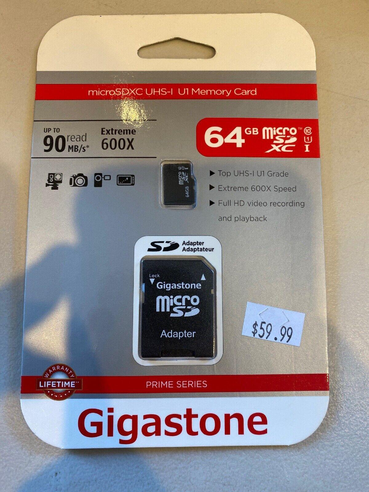 Gigastone 64GB MicroSD Card UHS-I U1 Class 10 SDXC Memory Ca