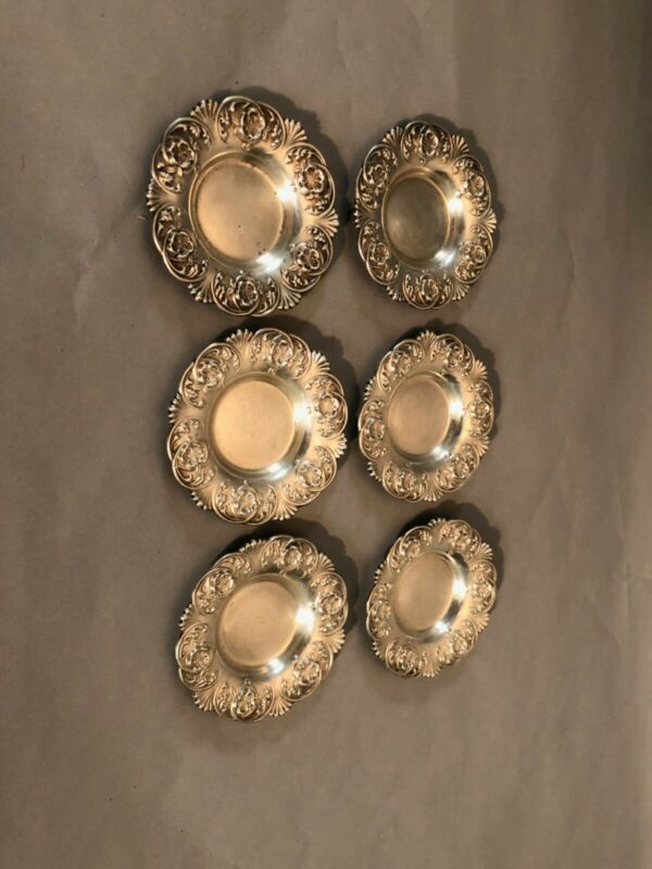 Set of 6 Alvin Manufacturing Co. Sterling Silver Butter Pats, No Mono