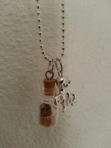 handmade tiny in a bottle necklace sand shells