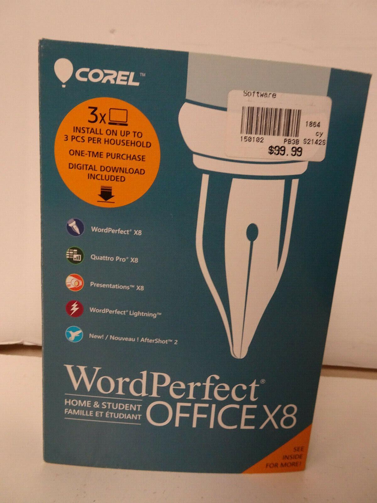 NIB Corel WordPerfect Office X8 Home & Student Edition Software 3X PC's