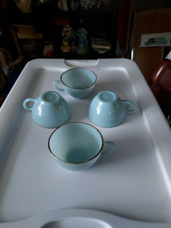 4 vintage FIRE KING oven ware Blue Azurite Delphite Coffee Tea Cup Mug Gold Rim