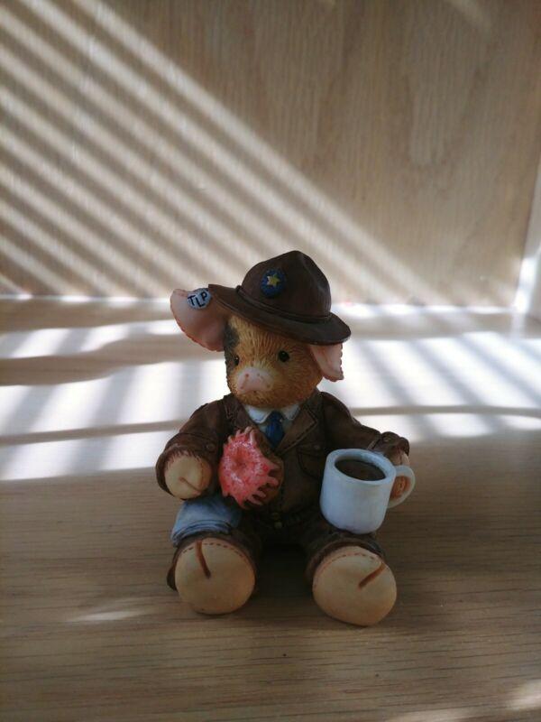 """This Little Piggy Figurine """"Give An Officer A Hog"""" Enesco 1995"""