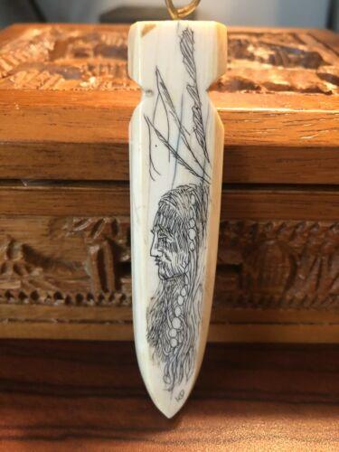 Signed Native American Scrimshaw Carving KD