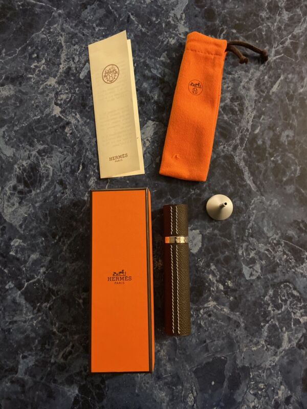Hermes Refillable Leather Perfume Atomizer Travel Bottle Funnel NIB Pouch