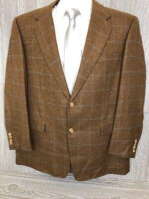 Hickey Freeman Mens Cashmere Blend Beige Windowpane Sport Coat 43 Short (t18)