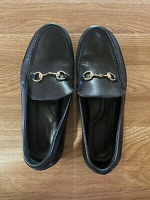 Vintage Gucci Horsebit Black Leather Loafers Women's Size 8 1/2