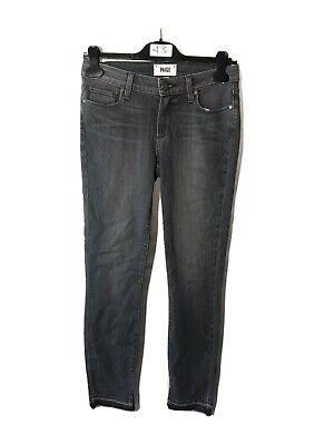 PAIGE WOMENS DENIM JEANS - HOXTON ANKLE PEG WITH UNDONE HEM AND INSEAM SLIT, GRY