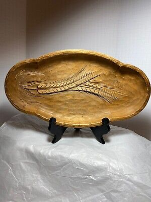 Wooden Hand Carved Vintage Wheat Tray Germany 15