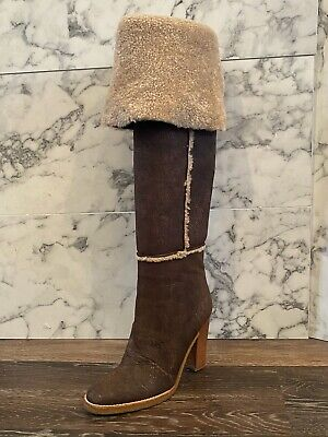MICHAEL KORS Chocolate Brown Leather & Shearling Fold-Over Knee High Boots - 8.5