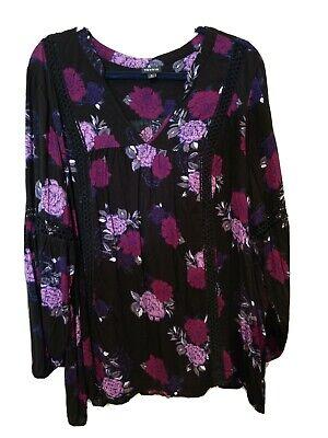 Torrid Floral Twill Lace Long Sleeve Tunic Top Black Purple Plus Size