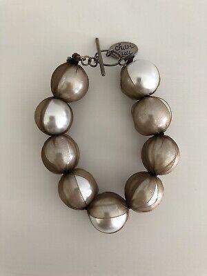 CHAN LUU Tulle Wrapped Pearl Bracelet