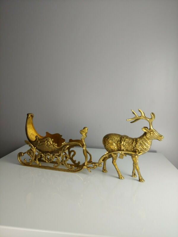 Vintage Mid Century Heavy Brass Reindeer And Sleigh Christmas Decor
