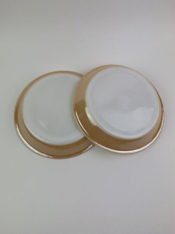 "Fire King Peach Lusterware #460 9"" Round Pie Plates Pans Ceramic Set of 2"