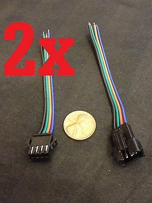 2 set jst 4 PIN Male Female RGB connector Wire Cable 3528 5050 SMD LED Strip a1
