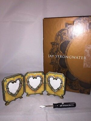 Jay Strongwater Amore Triple Heart Folding Frame Yellow Enamel Jewel SPF5616 Box