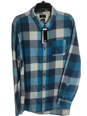 Quiksilver Mens Flannel Shirt Large Blue Gray Plaid Cotton NEW