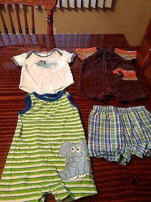 infant boy clothing lot 1 shirt, 2 outfits and 1 pair of shorts size 0-3 months