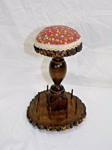 """Vintage Wooden Rustic Spool Thread Holder and Pin Cushion 9"""" tall aprox 5.5"""" dia"""