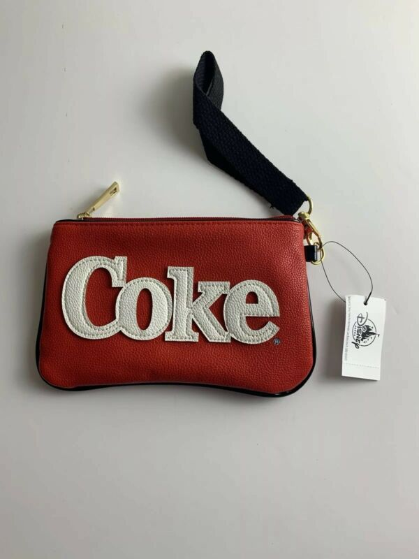 Coca Cola COKE Polar Bear Wristlet Removable Strap Red White with Pink Heart NWT