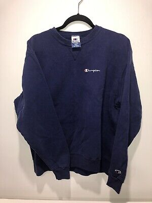 VTG 90's CHAMPION Embroidered Spell Out Navy Blue Crewneck Sweatshirt X Large