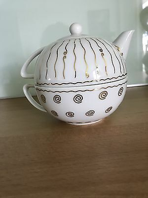 Tea For One Tea Pot and Cup Set, white with gold design