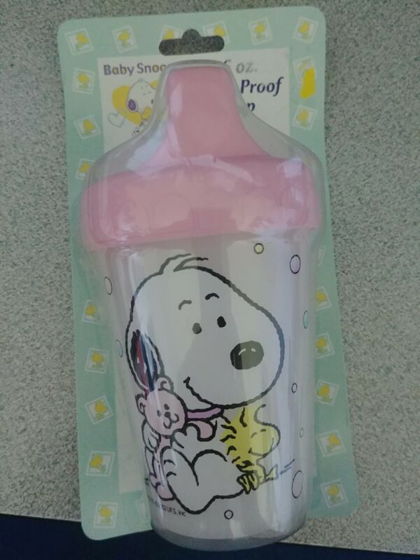 Baby Snoopy Toddler Cup 6 oz Peanuts Spill proof pink top Dishwasher safe 2002