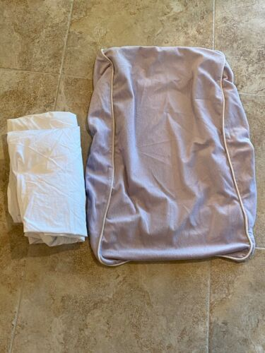 Restoration Hardware Baby & Child Lilac Changing Table Cover & 2 White Crib Shee