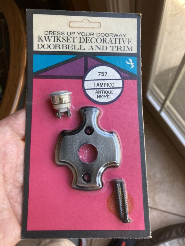 VINTAGE Kwikset DOORBELL Lockset 757 Tampico Antique Nickel Dress up your door