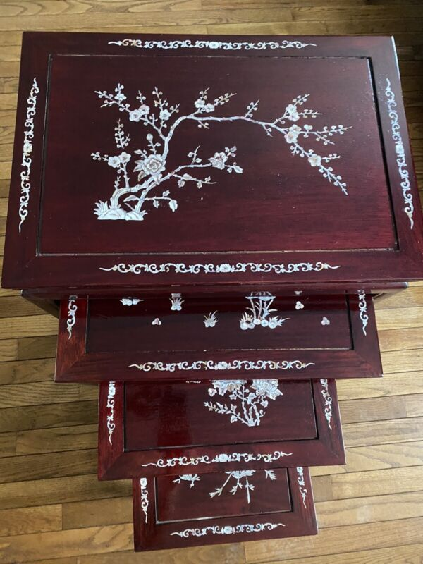 ANTIQUE CHINESE ROSEWOOD HAND MADE NESTING TABLES INLAID MOTHER OF PEARL