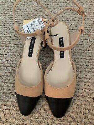 Zara combined nude/black  mid-heel leather sling back shoessize 36/ US 6 new