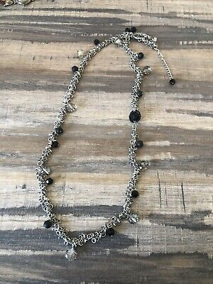J Jill Necklace, Long With Black Beads, Silver Long Black Beaded Necklace