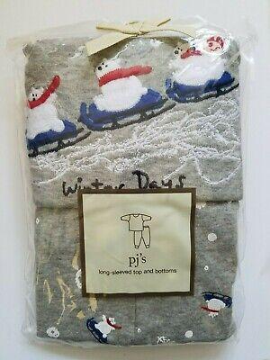 Baby Gap Pajama Set Girls Long Sleeved Top & Bottom Bears Gray Size 5 Years NWT Baby Girls Long Sleeved Pajamas