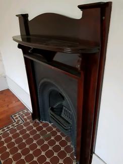 Mantel mahogany with cast iron insert victorian