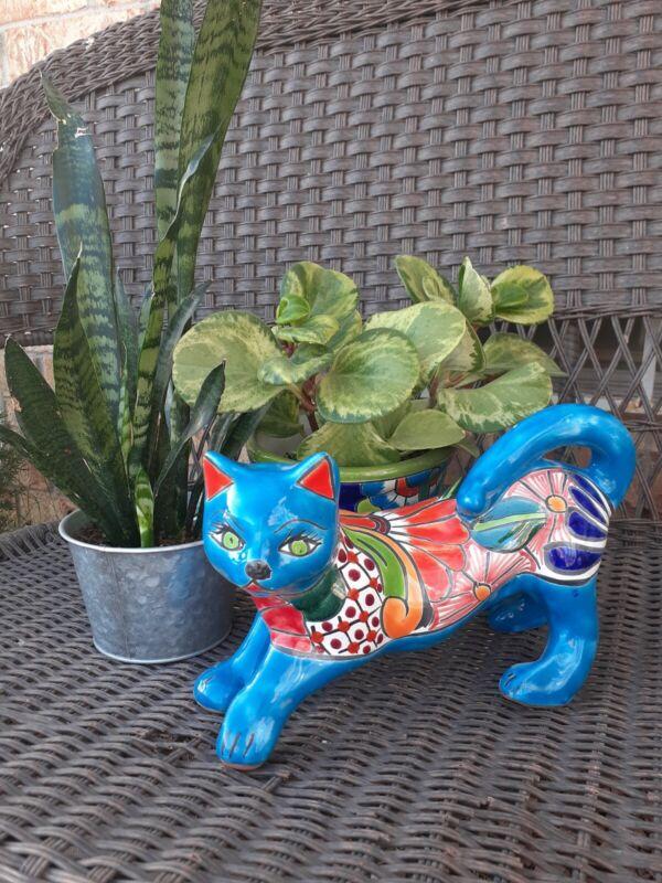 "Mexican Talavera Yard Art Pottery Walking Cute Cat 11"""