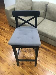 3 Black bar Stools and Cushions Liverpool Liverpool Area Preview