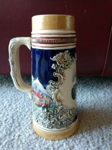 """9"""" Embossed Handled Ceramic Luxembourg Pont Adolphe Original King 5 Stein #700"""